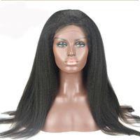 Wholesale Best Human Hair Yaki Wigs - Italian Yaki African American Full Lace Human Hair Wigs Best Glueless Brazilian Virgin Kinky Straight Lace Front Wigs