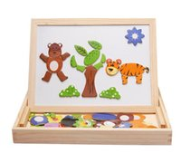 Wholesale Drawing Wooden Box - Wooden ball animal fight fight magnetic multi-functional double-sided drawing board learning box three-dimensional puzzle wooden building bl