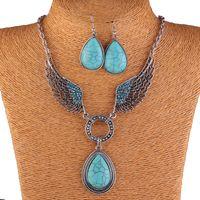 tansanit silber anhänger großhandel-Mode Vintage Halskette Set Antik Silber Türkis Schmuck Set Ohrringe Klassische Anhänger Design Edlen Schmuck Sets