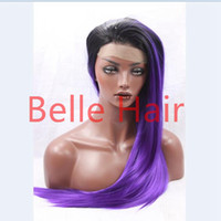 Wholesale Wig Purple Long Dark - Free Shipping heat resistant fiber natural long straight two tone ombre Black dark purple glueless Synthetic Lace Front hair wig