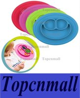 Wholesale Wholesale Dining Placemats - Silicone Placemat Smile Mini Size 1 pc Baby Divided Dish Bowl Plates Food Grade Silicone Suction to Dining Table Placemats Kids