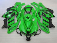 Wholesale Black Ninja Stars - 4 Free Gifts New Motorcycle ABS Fairing Kits 100% Fit For kawasaki Ninja 07 08 ZX6R 636 2007 2008 ZX-6R bodywork set green black star
