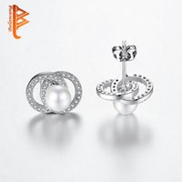 Wholesale Wholesale Women Fashion Gift Items - BELAWANG Hot Item Silver Pearl Stud Earrings with Clear Cubic Zircon Earrings Fashion Jewelry for Women Gift Wholesale Free Shipping