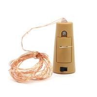 navidad lámpara batería cálido blanco al por mayor-Edison2011 1 M 2 M con pilas de la botella de vino Luces de corcho en forma de luces de cadena Decoración de vacaciones de Navidad de la lámpara al por mayor blanco cálido blanco