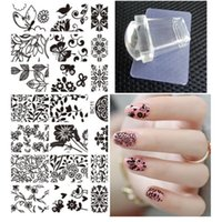 Wholesale Flower Polish - Wholesale- DIY Polish Templates Nail Tools Flower Bird Nail Art Stamp Template Image Plate Square Clear Jelly Stamp Scraper Set 2016 New