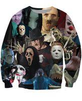 Wholesale Fashion Cinema - Women Men 3D Cinema Killers Crewneck Sweatshirt Michael Myers Leatherface Hellraiser Hannibal Lecter Sweats Pullover tops jumper