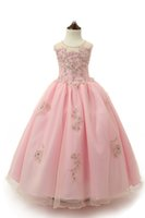 Wholesale Jeweled Ball Gown Prom Dresses - Pink Lace Appliques Girls Jeweled Pageant Dress Crystals Beads Little Princess Prom Party Dresses Big Kids Floor Length Ball Gown