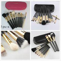 Wholesale professional makeup brushes set pink - HOT MC Makeup Brush set 12 pieces Professional eye makeup brushes sets Pink Black FREE Shipping with logo