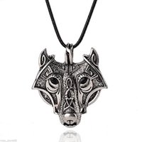 Wholesale Resin Animal Heads Wholesale - New Charm Men Stainless Steel Wolf Head Pendant Leather Chain Necklace Jewelry