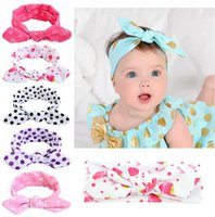 Wholesale Dotted Flower Headband - New Baby Bow Headband Girls Bohemian bunny Hairband Round 7INCH flower printed Baby color Hair Accessories