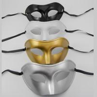 boule de masque or argent achat en gros de-Masques de fête Masque plat Masque de prince Maquillage Ball Concise Vizardmask Solide Couleur Or Argent Noir Blanc Domino 1 2ts