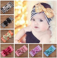 Wholesale Sequin Bowknot Hair - 11 styles INS Lovely Sequin bowknot headbands Striped cotton kids Hair accessories fashion lovely bow kids baby children hairband free ship