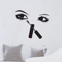 seksi duvar resimleri toptan satış-Kirpikler Makyaj Duvar Çıkartmaları Güzellik Salonu Odası Dekor Yaratıcı Duvar Çıkartmaları Vinil Seksi Gözler Duvar Resimleri