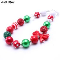 MHS.SUN Christmas Style Kid Chunky Necklace Newest Fashion Design Toddlers Girls Bubblegum Bead Chunky Necklace Jewelry Gift For Children