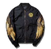 Wholesale Jacket Black Wings - spring jacket men jaqueta masculina eagle wing Embroidery ma1 bomber jacket ma-1 air force one kanye west pilot jackets coat