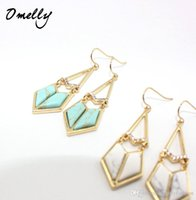 Wholesale Turquoise Statement Earrings - New Arrivals Kate Darcy Statement Earrings Women Jewelry Gold Filled Crystal Turquoise Stone Chandelier Earrings Omelly