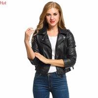 Wholesale Ladies Leather Coats Wholesale - Wholesale- Autumn Fashion Plus Size Coats Women Zipper Leather Jacket Short Slim Fit Motorcycle Coat Ladies Outwear Black Jackets SV006097