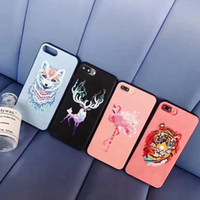 Wholesale Cute Protective Iphone Cases - Tiger Pattern Embroidery Phone Case High Quality Protective Cute Painting Mobile Phone Cover For Iphone 6 6s 7 Plus CKCPC-013