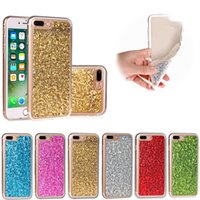 Wholesale Acrylic Iphone 4s - Bling Glitter Powder Transparent Full Body Protective Shell Soft TPU Frame Hard Acrylic Back Cover for Apple iPhone 5 5s 5c 6 6s 7 Plus 4 4s