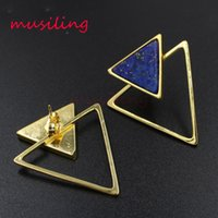 Wholesale Triangle Clip Earrings - Earring Stud Triangle Ear Stud Natural Gem Stone Jewelry Ear Clip Earrings Women's Jewelry Amethyst Opal Onyx Lapis Lazuli etc Stone