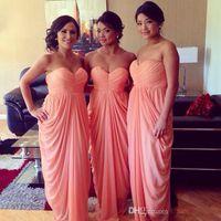 Wholesale gowns green colour resale online - Pink Coral Colour Bridesmaid Dresses Sweetheart Chiffon Ruffles Exquisite bridesmaids Formal Party Gowns Long Cheap Blush Dress
