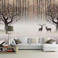 waldwand kulisse groihandel-Tapete Vintage nostalgische Dark Forest Elk 3D-TV Kulisse dekorative Malerei Wohnzimmer Study Restaurant Halle Wallpaper
