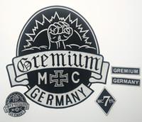 patchs de vêtements à vendre achat en gros de-Grosses soldes! GREMIUM Allemagne Patchs Brodés Full Back Taille Patch pour Veste Fer Sur Vêtements Biker Gilet Patch Rocker Patch Livraison Gratuite