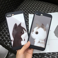 Wholesale Cat Cell Case - Case for Apple iPhone 6S 7 8 Plus Sweethearts Lovers Mobile Shell Mirror Face Cat Pattern Cell Phone Cover