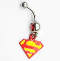 Wholesale Superman Piercing - red color 0942 belly ring nice superman style belly ring with piercing body jewlery navel belly ring body jewelry