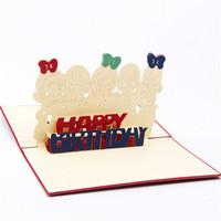 convites adoráveis venda por atacado-10 pcs 3D pop criativo infantil cartões de aniversário adorável cartão do convite do aniversário com envelope feliz aniversário desejo cartão