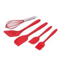 21 X 3 Cm 29 X 7 Cm 21 X 4.3 Cm Eco Friendly 5pcs Set Red FDA Silicone  Cooking Tools Spatulas Basting Brush Whisk Kitchen Utensils Set Hygienic  Solid ...