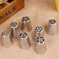 Wholesale Polished Stainless Pipe - Wholesale- 7 Pcs Cream Stainless Steel Russian Icing Piping Nozzle for polishing Pastry Tools Cupcake Tips Kitchen Accessories