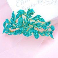 Wholesale Bridal Fashion Headpiece - Vintage Wedding Bridal Accessories Blue Fashion Baroque Princess Crown Tiara Headband Hairband Hair Jewelry Headpiece Headwear Party Retail