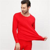 frauen baumwoll-unterhemd großhandel-Neue Flut Russland China Stil Männer Frauen unisex beiläufige lange Unterhosen Anzüge rot einfarbig Elastizität Baumwolle Blending lange Unterwäsche Unterhemden