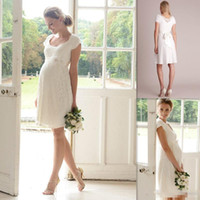 Wholesale Knee Length Maternity Wedding Dresses - 2017 Short Lace Maternity Wedding Dress for Pregnant Women Bridal Gown Little White Dresses Vestidos de Novia Abiti da Sposa