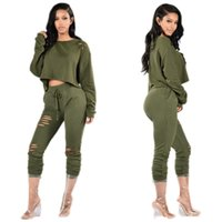 Wholesale New Style Women Outfit - Women's Tracksuits 2017 New Spring Autumn Style Wine Red Black Army Green Bodycon Suit 2 Piece Outfits Hollow Out Pants Womens Clothing Set
