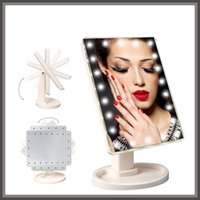 Wholesale Compact Cosmetic Mirror Wholesale - 360 Degree Rotation Touch Screen Make Up Mirror Cosmetic Folding Portable Compact Pocket With 16 22 LED Lights Makeup Tool