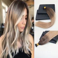 brezilya füzyonu uzantıları toptan satış-100% Bakire Brezilyalı İnsan Saç I-İpucu Prebonded Saç Uzantıları Çift Çizilmiş Keratin Sopa Fusion Remy Saç Uzantıları I İpucu