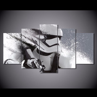 Wholesale Oil Painting Framed Set - 5 Pcs Set Framed HD Printed Star Wars Stormtrooper Episode Picture Wall Art Canvas Print Decor Poster Canvas Modern Oil Painting