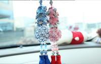 jingdezhen ornaments großhandel-Natürlicher Achat Kristall Auto Anhänger Rückspiegel Jingdezhen blau weiße Porzellan Pfingstrose Autoinnenausstattung Weihnachtsschmuck g