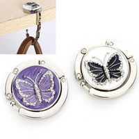 симпатичные сумочки оптовых-Wholesale- Pretty Handbag Bag Decor Hang Butterfly Pattern Folding Hook Hanger Holder for Purse