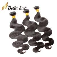 insan saç uzantıları kraliçeleri toptan satış-Bella Hair® 100% Işlenmemiş Perulu İnsan Saç Uzantıları Doğal Renk 9A Kraliçe Saç Örgü 2 Demetleri Vücut Dalga Saç Atkı