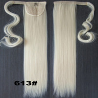 Wholesale Pony Tail Hair Extension Blonde - Wholesale-Blonde 22INCH Long Straight Ponytail Pony tail Clip In Hair Extensions Real Natural Hairpiece 47Colors