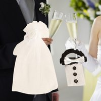 Atacado-2Pcs / Set Wedding Party Decoração Bride Groom Costume Casamento Vidro Glass Glass Covers Sleeve For Wedding Party Cup Acessórios