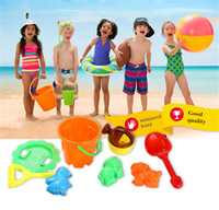 tools play sand Australia - Wholesale 8 Seaside Excavating Tools Beach Sand Play Water Toys The bucket Sand mold Children's beach toys Model Building funny Sand Toys