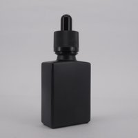 Wholesale glass container for perfume - Matte black glass empty perfume bottle dropper pipette e liquid vape 30ml bottle square shape for ejuice container hotting child proof cap