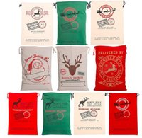 Venda quente de sacos de natal 20 estilos Canvas Bags Santa Sacks Xmas Gift Stocking Bag Santa Claus Deer Festive Supplies 2018 New Year