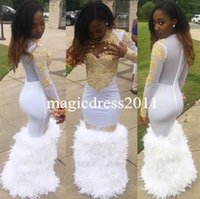 Wholesale Lace Fur Satin - 2K17 Sexy White Fur Prom Dresses with Long Sleeves Keyhole Neck Gold Lace Top Floor Length Black Girl Mermaid African Evening Dresses 2017