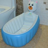 Wholesale Plastic Basin Tub - Retail Inflatable baby bathtub newborns bathing tub Eco-friendly portable infant bath basin 95*60*30cm children christmas gifts WD212