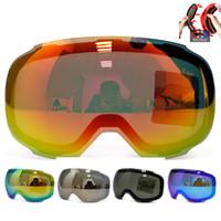 Wholesale Magnetic Goggles - Wholesale- Original Magnetic Lens for ski goggles GOG-2181 anti-fog UV400 spherical ski glasses snow Snowboard goggles